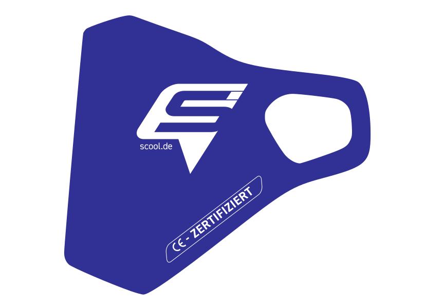 Zertifizierte juniorcare Schutzmaske für Kinder mit dem S'COOl Logo in Blau (Royal)