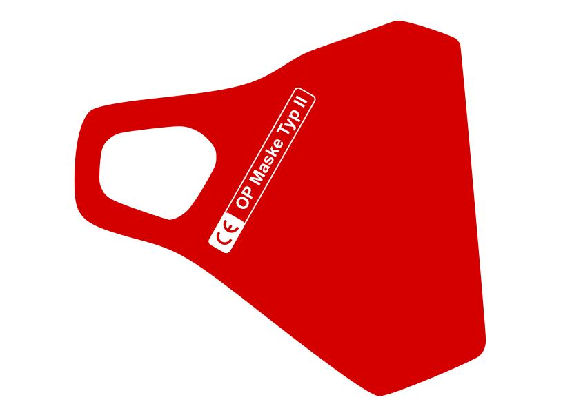 Zertifizierte Schutzmaske in Rot