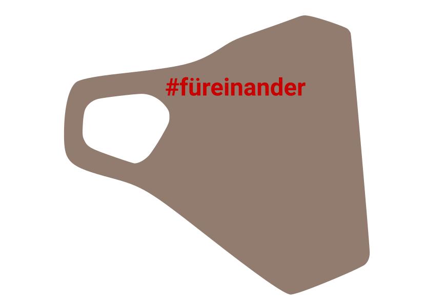 Zertifizierte Schutzmaske mit dem Hashtag #füreinander